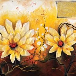 Tablou floral Extaz inramat, 100x50 cm