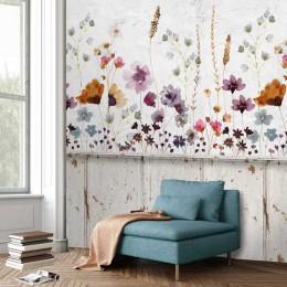 Fototapet 3D Perete cu acuarela cu flori de camp