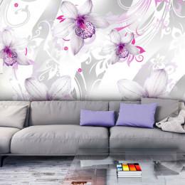Fototapet Decor floral alb- ciclam-gri argintiu