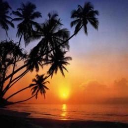 Fototapet peisaj Apus Tropical la mare