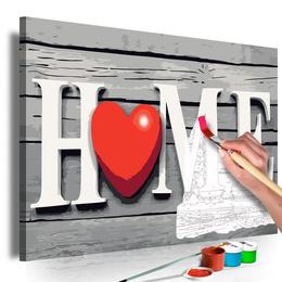 Pictura pe numere 60x40 cm - Home cu inima rosie