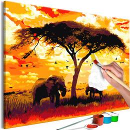 Pictura pe numere - Africa la Apus de Soare