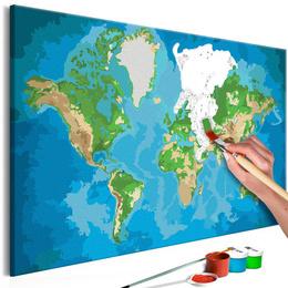 Pictura pe numere - Harta Lumii (Albastru si Verde)