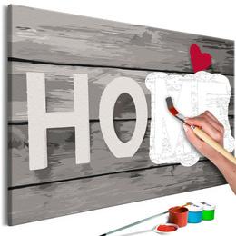 Pictura pe numere Home- Acasa cu litere gri