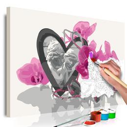 Pictura pe numere - Ingeri (Inima si Orhidee Roz)