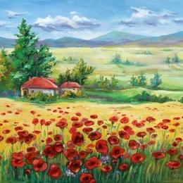 """Pictura """"Peisaj cu maci"""""""