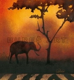 Tablou decorativ cu motiv african II, inramat