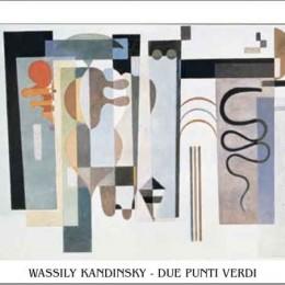 Tablou Kandinsky Doua puncte verzi inramat, 50x70 cm