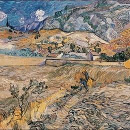 Tablou Van Gogh Peisaj la San Remy inramat, 60x80 cm
