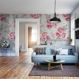 Fototapet vlies 3D Perete cu lambriuri gri si flori roz