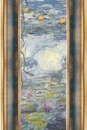 "Poster Monet ""Nuferi-fragment"" rama albastra-aurie patinata"