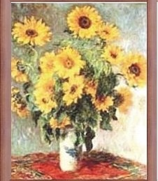 "Poster Monet ""Buchet floarea soarelui"", rama maro"