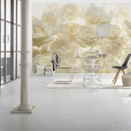 Fototapet vlies floral Trandafiri albi delicati 368x248 cm