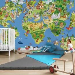 Fototapet vlies Harta lumii pentru copii