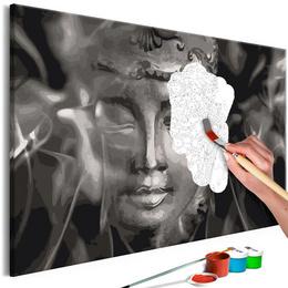 Pictura pe numere - Buddha Alb Negru