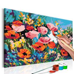 Pictura pe numere - Pajiste de Flori Colorate
