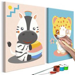 Pictura pe numere - Zebra si Leopard