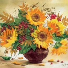 Tablou cu flori ''Vas cu floarea soarelui'' inramat