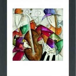 "Tablou decorativ cubist ""Jam session II"" inramat"