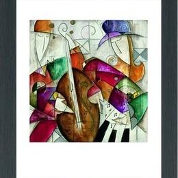 "Tablou decorativ cubist ""Jam session II"" inramat"