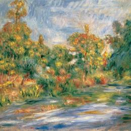 Tablou Renoir Peisaj cu rau, inramat