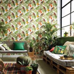 Tapet superlavabil vintage cu frunze, pasari si ananas