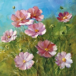 Tablou decorativ ''Flori roz in gradina'' inramat