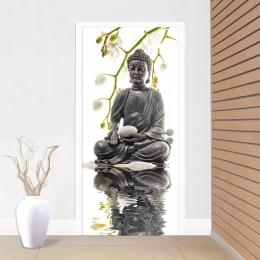 Fototapet de usa Buddha sub orhidee albe