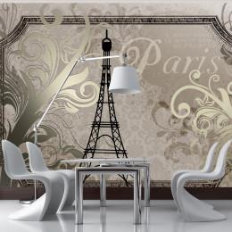 Fototapet Vintage Paris - auriu