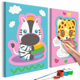 Pictura pe numere - Zebra si Leopard (Roz si Albastru)