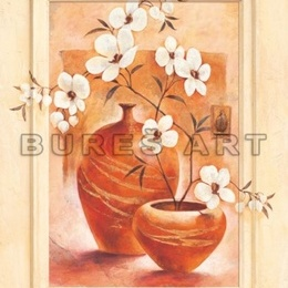 Poster Flori albe in vase de lut I