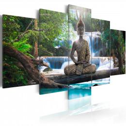 Tablou - Buddha and waterfall