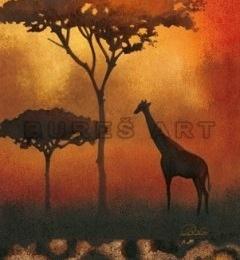 Tablou dcorativ cu motiv african I, inramat