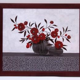 Tablou ''Decor cu trandafiri rosii'' inramat