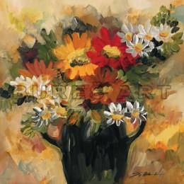 Tablou floral Vaza bleumarin cu gherbere si margarete, inramat