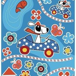 """Sticker decorativ pentru copii """"Catelul sofer """""""