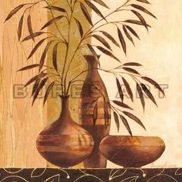 Tablou decorativ ''Natura statica cu vase si frunze'' cu foita aurie, inramat