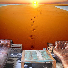 Fototapet - Footprints in the sand