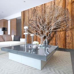 Fototapet lavabil - Copac stilizat pe fundal de lemn