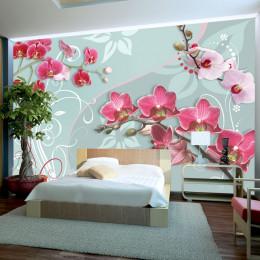Fototapet - Pink orchids - variation II