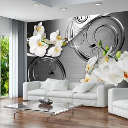Fototapet vlies Compozitie cu orhidee albe