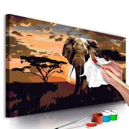 Pictura pe numere - Elefant in Africa (Culori Maro)