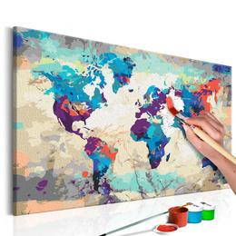 Pictura pe numere - Harta Lumii (Albastru si Rosu)