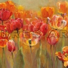 Tablou cu flori ''Lalele in gradina'' inramat cu rama moderna