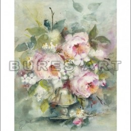 Tablou Trandafiri roz in vaza inramat