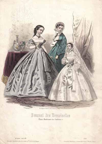 Poze Gravura colorata - Moda pariziana - 1861