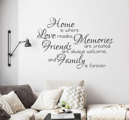 Home, Family and Friends - sticker decorativ
