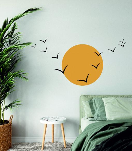 Pasari in soare - sticker decorativ perete