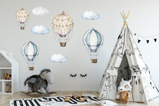 Sticker perete copii - Baloane cu aer cald pentru copii