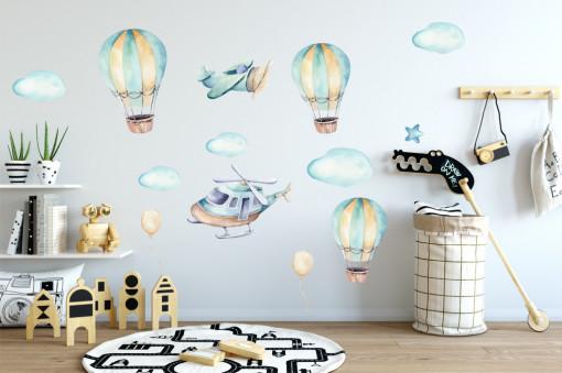 Baloane, elicopter si avioane colorate - sticker decorativ